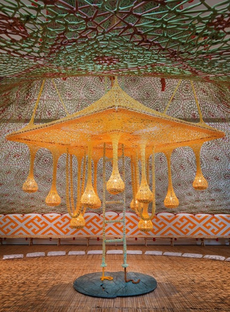 Ernesto Neto artist exhibit with Huni Kuin-5