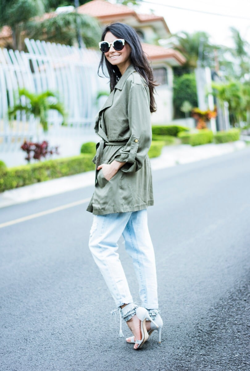 Green trench personal style-1