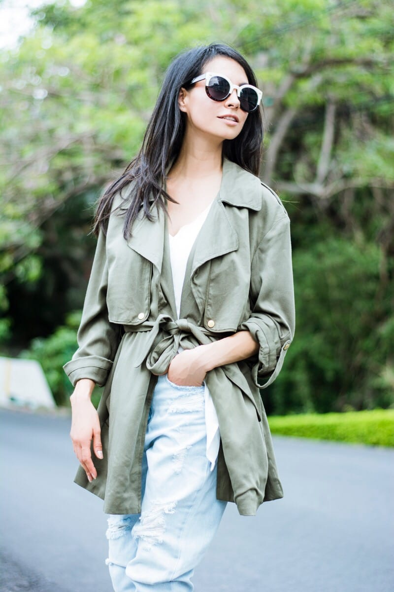 Green trench personal style-2