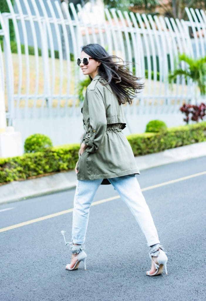 Green trench personal style-3