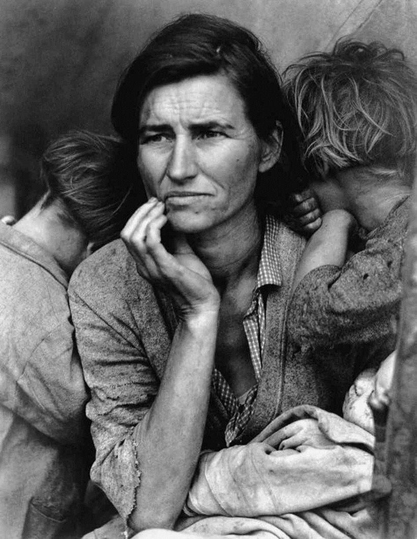 Dorothea Lange Migrant Mother B&W Photo