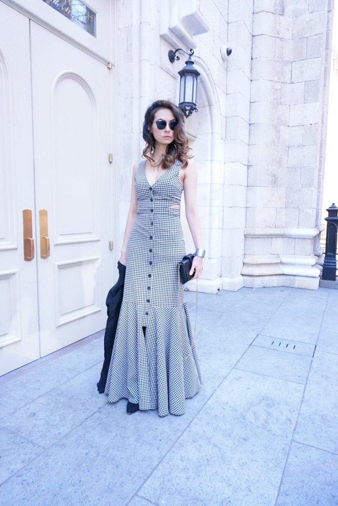 DI Carolina in Gingham dress by Marissa Webb 3