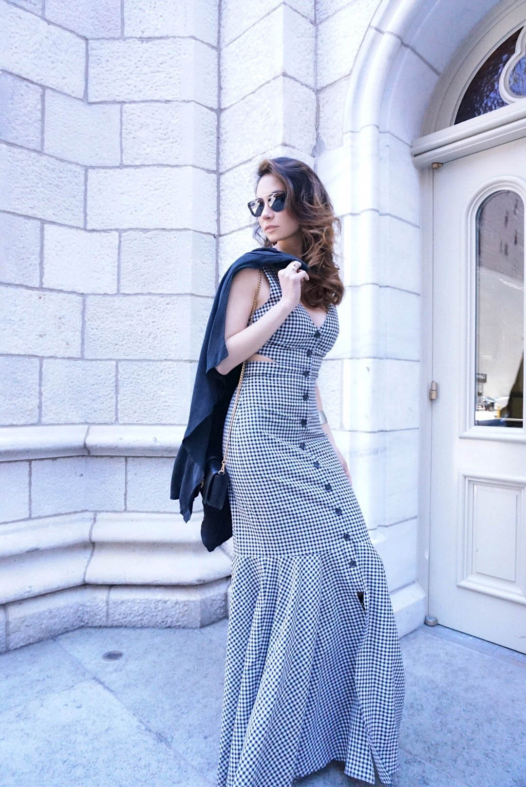 DI Carolina in Gingham dress by Marissa Webb 3