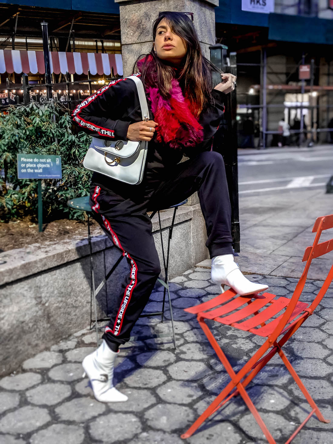 white boots and tracksuit spirng 2018 fashion week - influencer style www.flightofspice.com-6